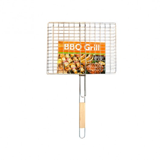 Barbecue Grill Basket with Wood Handle