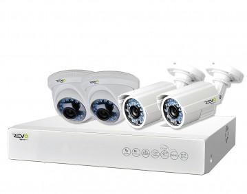 REVO America Aero HD 4-Channel Complete Surveillance System, White (RA41BF-1T)