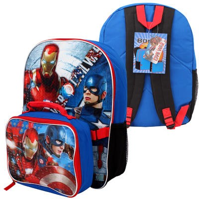 Captain America Civil War Backpack w/Lunch Bag